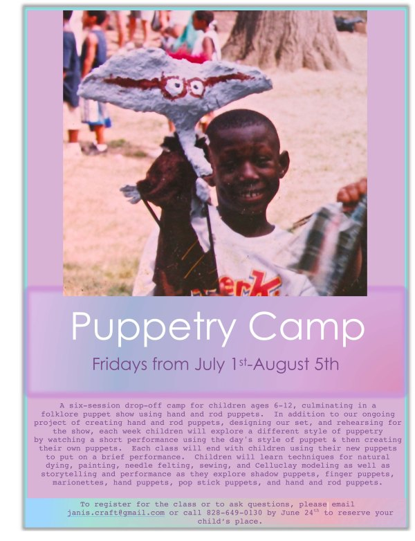 puppetry camp flier 2016